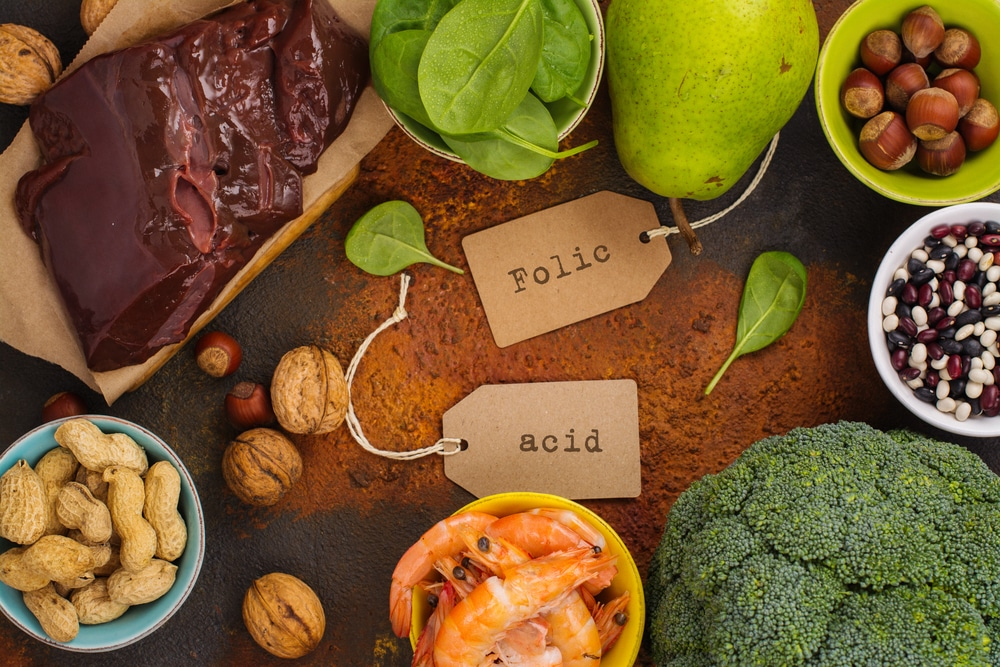 Healthy food, sources of folic acid vitamin B9